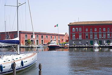 Sailboat docked at a harbor, Porto, Borgo Marinaro, Bay of Naples, Naples, Naples Province, Campania, Italy