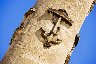 Anchor carved on a column, Rostrale Columns, Place des Quinconces, Bordeaux, France