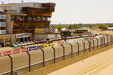 Cars in front of a stadium, Le Mans, France