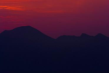 Silhouette of mountains at dusk, Mt Vesuvius, Naples, Campania, Italy