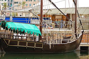 Tourboat at a harbor, Porto Antico, Genoa, Liguria, Italy