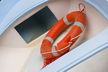Close-up of a life belt in a boat, Italian Riviera, RioMaggiore, La Spezia, Genoa, Liguria, Italy