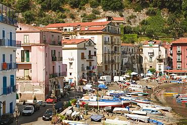 Buildings at the seaside, Marina Grande, Capri, Sorrento, Sorrentine Peninsula, Naples Province, Campania, Italy
