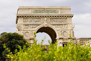Low angle view of an archway, Piazza Della Vittoria, Genoa, Liguria, Italy