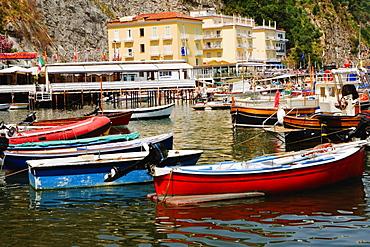 Boats at a harbor, Marina Grande, Capri, Sorrento, Sorrentine Peninsula, Naples Province, Campania, Italy