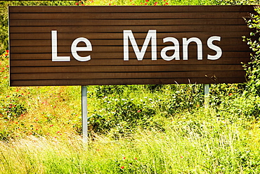 Close-up of an information board, Le Mans, France
