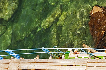 High angle view of a boardwalk, Bay of Naples, Sorrento, Sorrentine Peninsula, Naples Province, Campania, Italy