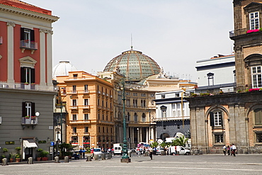 Buildings at a town square, Galleria Umberto I, Royal Palace of Turin, Piazza del Plebiscito, Naples, Naples Province, Campania, Italy