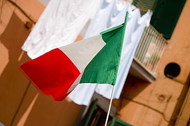 Close-up of an Italian flag, Naples, Naples Province, Campania, Italy
