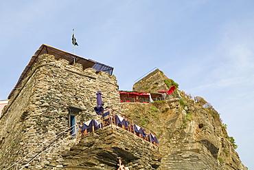 Low angle view of a castle, Doria Castle, Italian Riviera, Cinque Terre National Park, Vernazza, La Spezia, Liguria, Italy