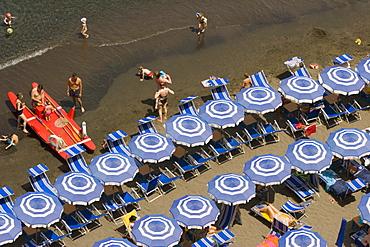 High angle view of tourists on the beach, Marina Grande, Capri, Sorrento, Naples Province, Campania, Italy