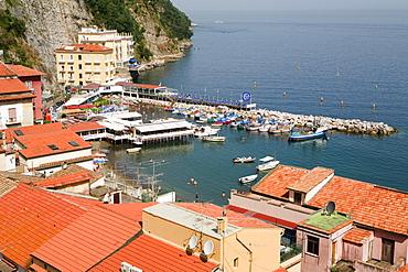 High angle view of buildings at the seaside, Marina Grande, Capri, Sorrento, Sorrentine Peninsula, Naples Province, Campania, Italy