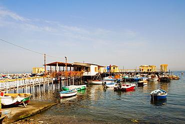 Boats moored at a harbor, Marina Grande, Capri, Sorrento, Sorrentine Peninsula, Naples Province, Campania, Italy