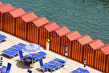 High angle view of beach huts on the beach, Marina Grande, Capri, Sorrento, Naples Province, Campania, Italy