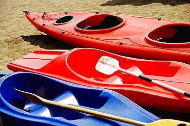 High angle view of kayaks, Sorrento, Sorrentine Peninsula, Naples Province, Campania, Italy