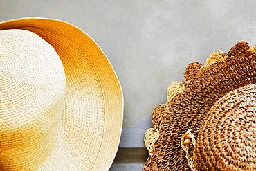 Hats at a market stall, Sorrento, Sorrentine Peninsula, Naples Province, Campania, Italy