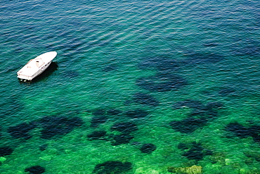 High angle view of a tourboat in the sea, Bay of Naples, Sorrento, Sorrentine Peninsula, Naples Province, Campania, Italy
