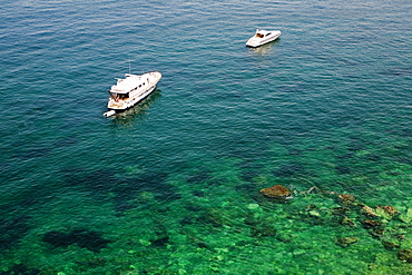 High angle view of tourboats in the sea, Bay of Naples, Sorrento, Sorrentine Peninsula, Naples Province, Campania, Italy
