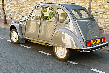 Citroen 2CV car on a road, Biarritz, France