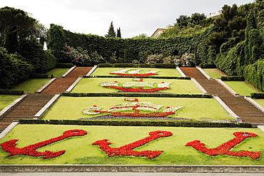 High angle view of a garden, Scalinata Delle Caravelle, Piazza Della Vittoria, Genoa, Liguria, Italy