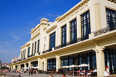 Group of people in front of a hotel, Casino Municipal, Grande Plage, Biarritz, France