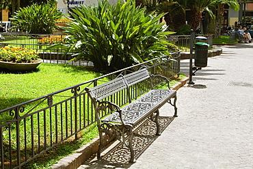 Bench at a roadside, Piazza Sant'Antonino Abate, Sorrento, Naples Province, Campania, Italy