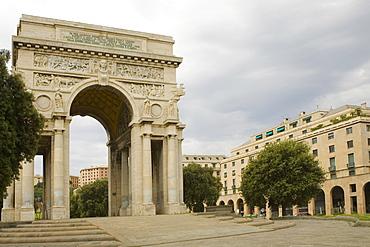 Entrance of a park, Piazza Della Vittoria, Genoa, Liguria, Italy