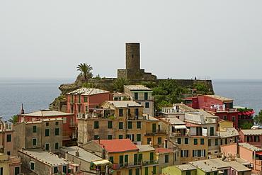 Castle in a town, Doria Castle, Italian Riviera, Cinque Terre National Park, Vernazza, La Spezia, Liguria, Italy