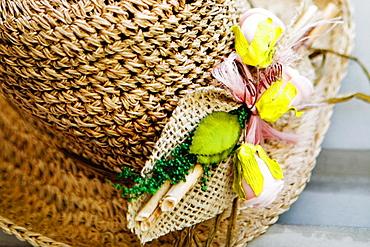 Close-up of a straw hat, Sorrento, Sorrentine Peninsula, Naples Province, Campania, Italy