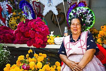 Senior woman selling flowers, San Juan Nuevo, Michoacan State, Mexico