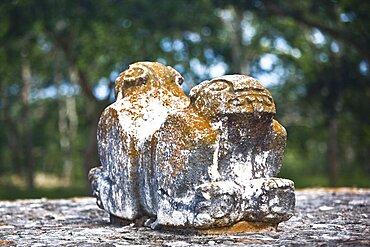 Close-up of the Jaguar Throne, Uxmal, Yucatan, Mexico