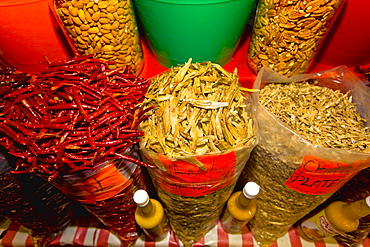 Spices at a market stall, Xochimilco, Mexico