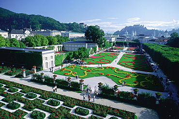 High angle view of a palace surrounded by a garden, Mirabell Palace, Salzburg, Austria