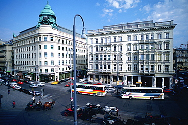 Buildings along a road, Albertina Platz, Vienna, Austria