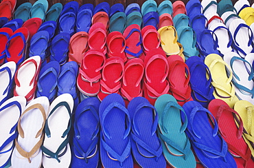 Close-up of flip-flops in a store