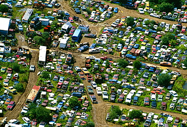 Aerial view of junk cars near Upper Black Eddy, Pa