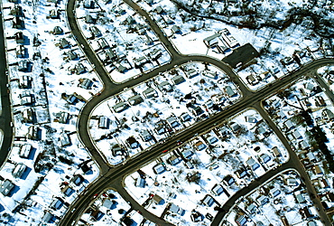 Aerial view of suburban housing in winter, Northern Virginia