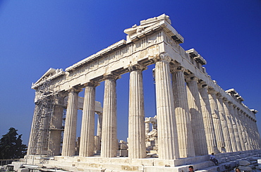 Low angle view of old ruin colonnades, Parthenon, Athens, Greece