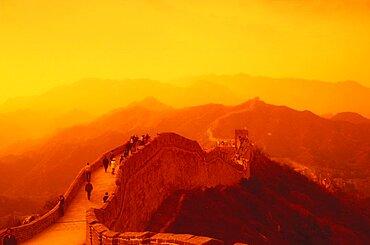 High angle view of a surrounding wall, Great Wall Of China, China - 788-2727