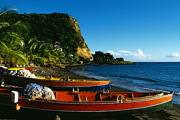 Fishing boats lined up on a seashore, Martinique, Caribbean