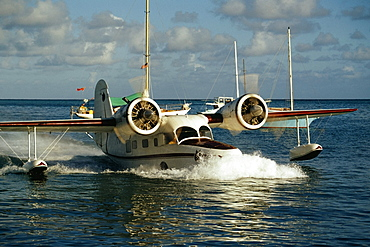 A seaplane landing at St. Croix, U.S. Virgin Islands