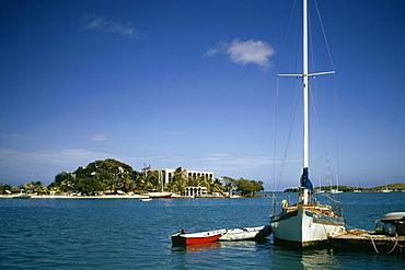 Boats at a harbor, Christainsted, St. Croix, U.S. Virgin Islands