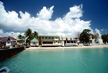 View of a commercial hub along a beach, St. Martin