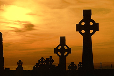 Celtic crosses at dusk, County Clare, Republic of Ireland