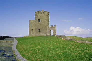Castle on cliffs, Cliffs of Moher, Republic of Ireland