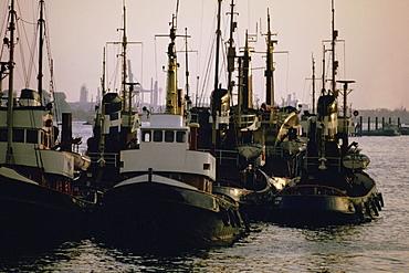 Tugboats in the sea, Hamburg, Germany