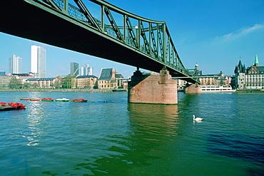 Cantilever bridge across a river, Main River, Frankfurt, Germany