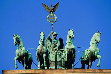 Low angle view of a statue, Quadriga Statue, Brandenburg Gate, Berlin, Germany