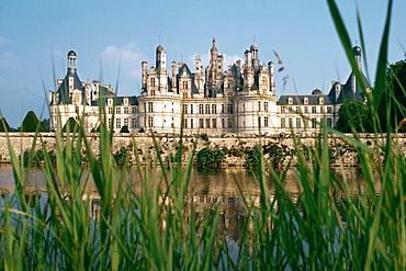A grand chateau on a riverbank seen through grass, Chambord, France