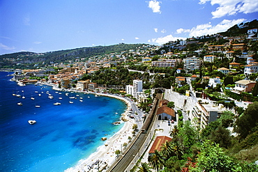High angle view of a city and a beach, Ville Frenche, France